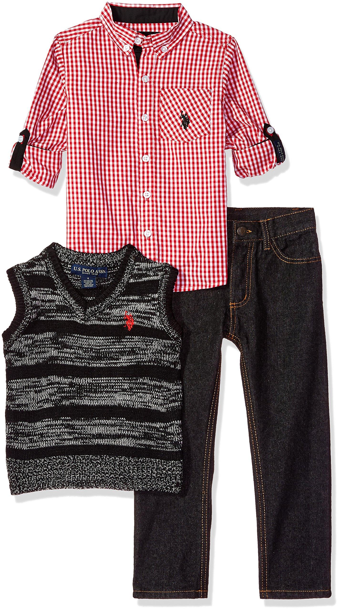 U.S. Polo Assn. Boys' Little Sport Shirt, Vest and Pant Set, Multi Plaid, 4