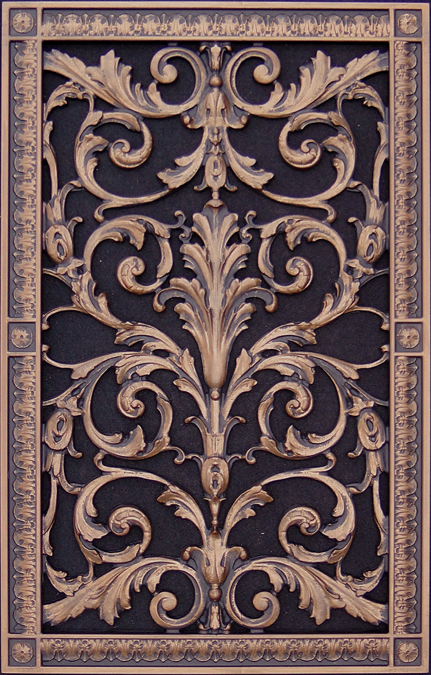 """Decorative Vent Cover, Grille, made of Urethane Resin in Louis XIV, French style fits over a 20""""x 12"""", Total size, 22"""" by 14"""", for wall & ceiling installation only. (not for floors) (Rubbed Bronze) by Beaux-Artes, Ltd."""