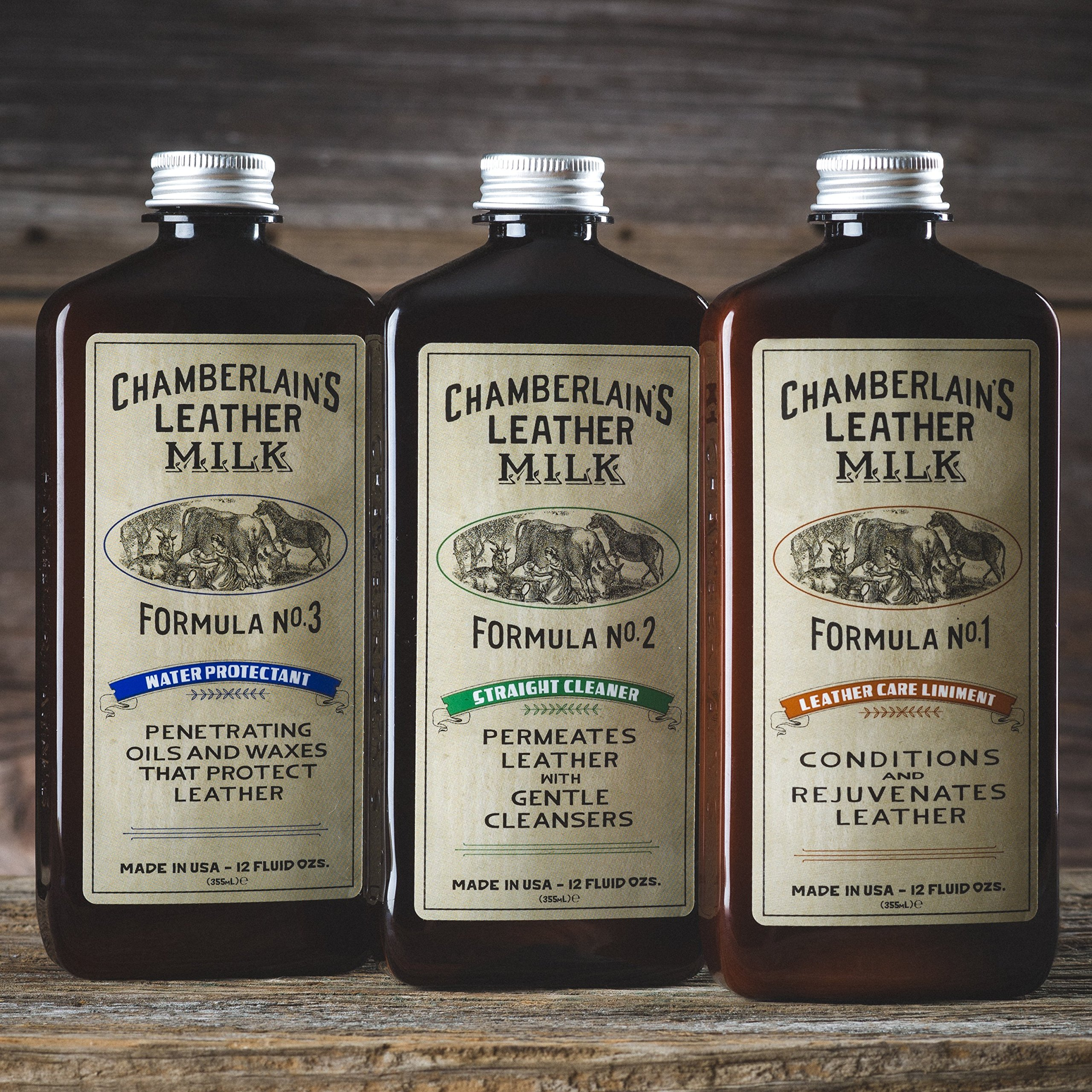 Leather Milk Leather Restoration Kit. Leather Cleaner, Conditioner, and Water Protector - No. 1-3 Leather Care Kit - All Natural, Non-Toxic. 2 Sizes. Made in The USA. Includes 3 Restoration Pads! by Chamberlain's Leather Milk (Image #2)
