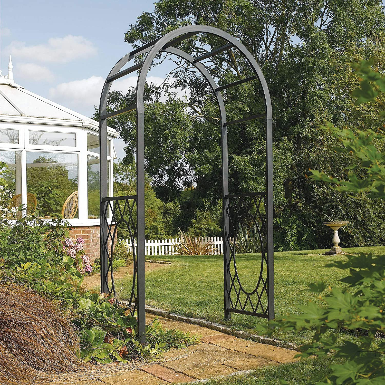 Bosmere ARCHWRRT Rowlinson Wrenbury Round Top Steel Arch with Powder-Coated Frame, Gunmetal Grey