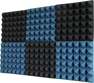 "product image for Foamily 6 Pack - Ice Blue/Charcoal Acoustic Foam Sound Absorption Pyramid Studio Treatment Wall Panels, 2"" X 12"" X 12"""