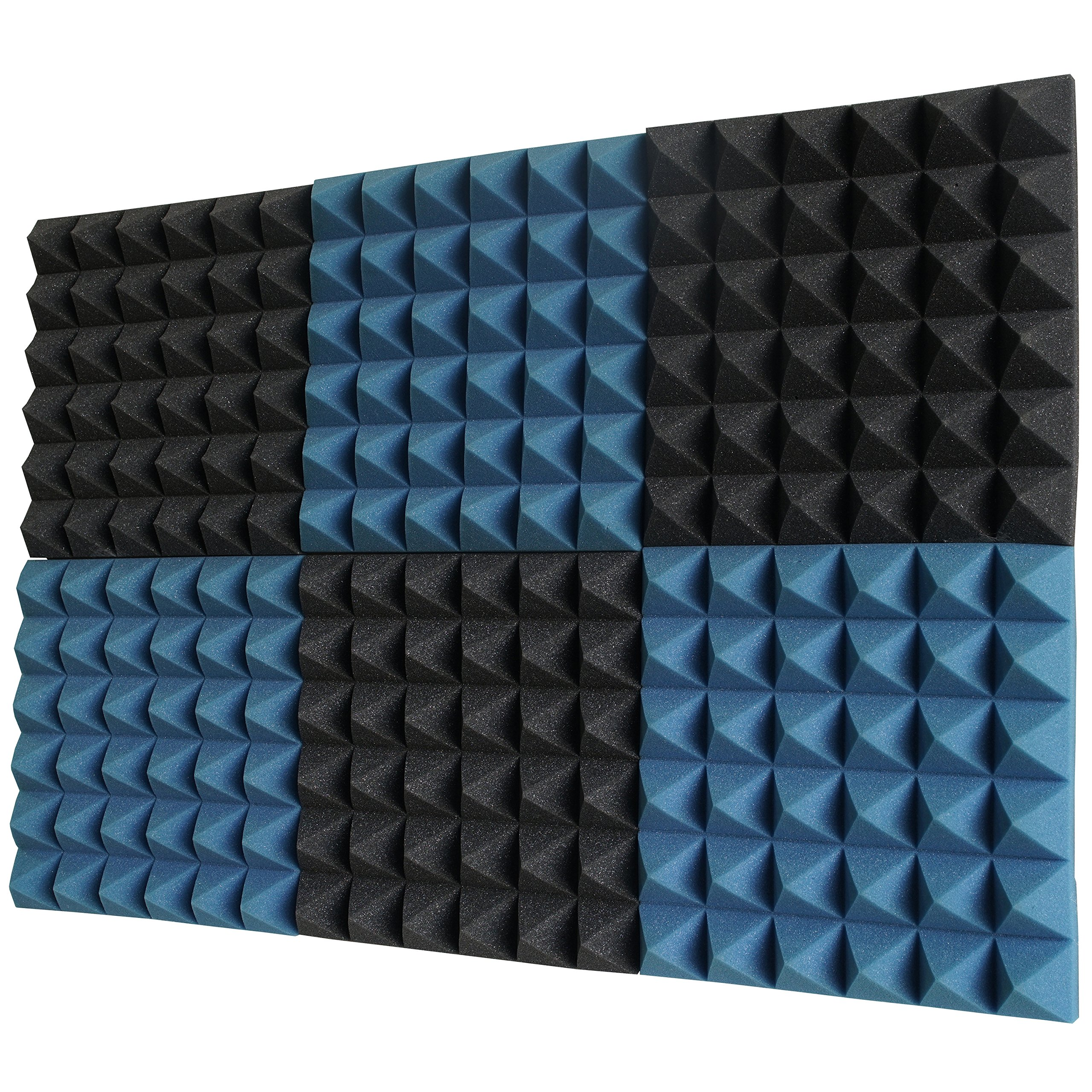 6 Pack - Ice Blue/Charcoal Acoustic Foam Sound Absorption Pyramid Studio Treatment Wall Panels, 2'' X 12'' X 12''