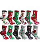 Yacht&Smith Christmas Printed Socks, Fun Colorful Festive Sock, 12 Pairs