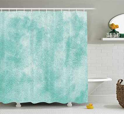 Ambesonne Mint Shower Curtain Ombre Watercolor Background With Hazy Featured Color Fades Boho Hippie Print