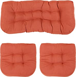 Sunnydaze Tufted 3-Piece Indoor/Outdoor Settee Cushion Set - 300D Olefin with Polyester Fill - Outdoor Bench, Couch or Loveseat Replacement Cushions - Burnt Orange