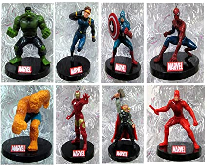 marvel comics 10 piece christmas ornament set featuring iron man wolverine captain america
