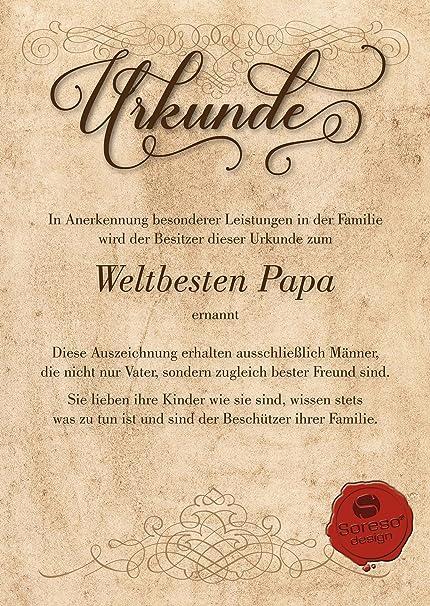 Urkunde Fur Den Weltbesten Papa Geschenkkarte Zum Geburtstag
