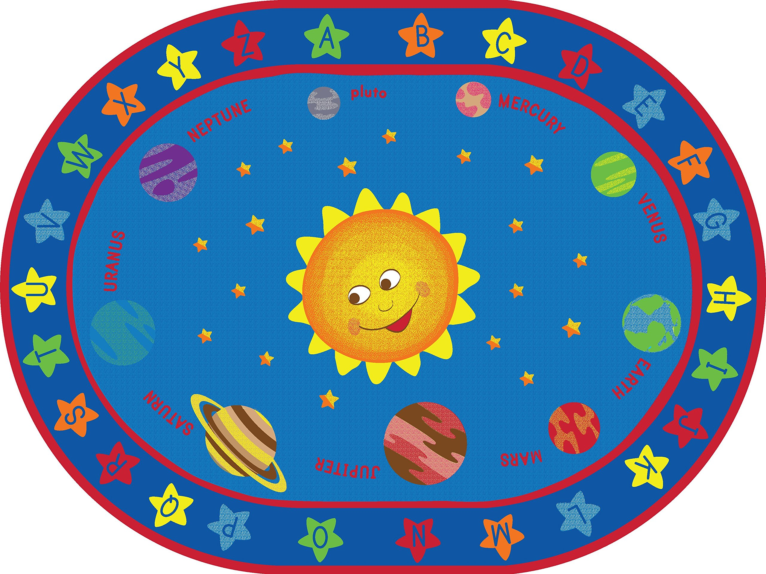 ECR4Kids Out of this World Alphabet Educational Rug, Oval, 9 x 12-Feet