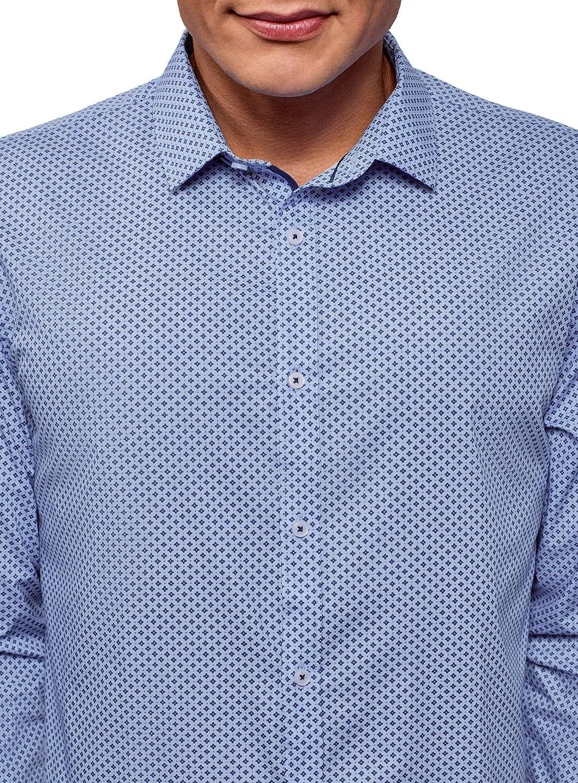 oodji Ultra Uomo Camicia Aderente con Maniche Lunghe