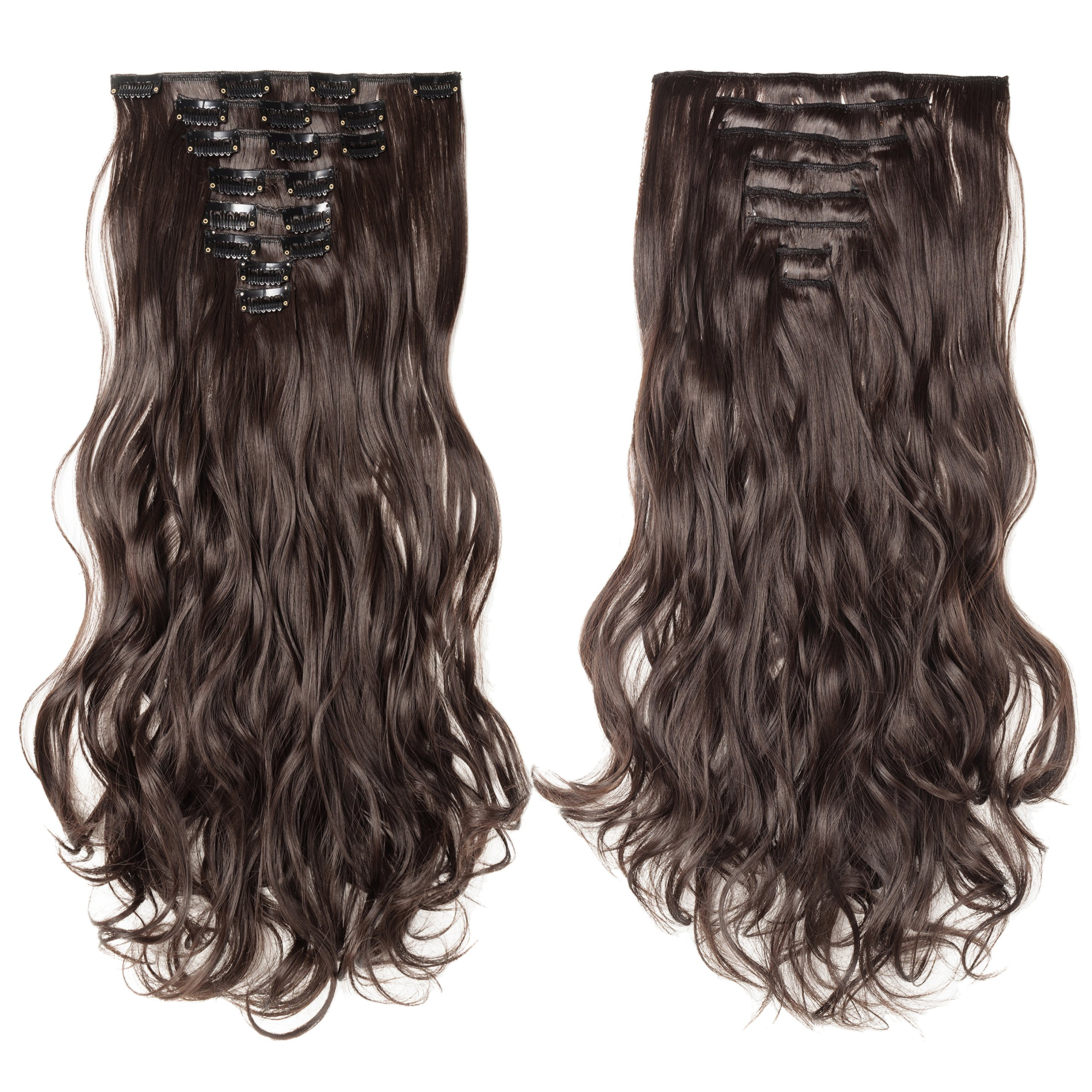Amazon 15 clip in synthetic hair extensions 2 dark brown s noilite 24 curly dark brown full head hairpiece clip in hair extensions 8 pmusecretfo Images