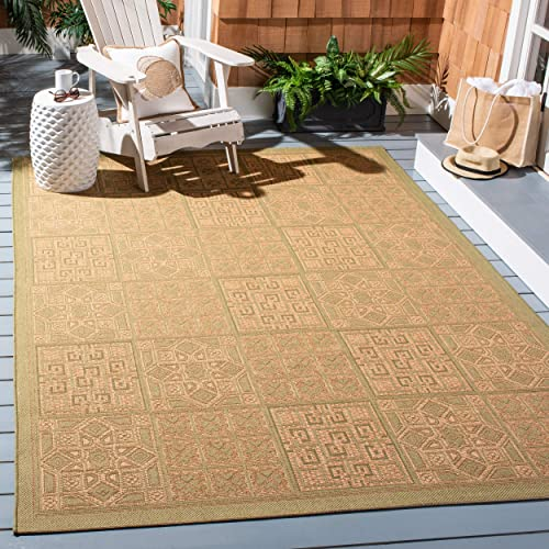 Safavieh Courtyard Collection CY6947-44 Green and Natural Indoor Outdoor Area Rug 8 x 11