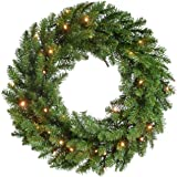 WeRChristmas Pre-Lit Timberland Spruce Wreath Christmas Decoration Illuminated with 35 Warm White LED Lights, 60 cm - Green