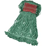 Amazon Basics Loop-End Synthetic Commercial String Mop Head, 5 Inch Headband, Large, Green, 6-Pack