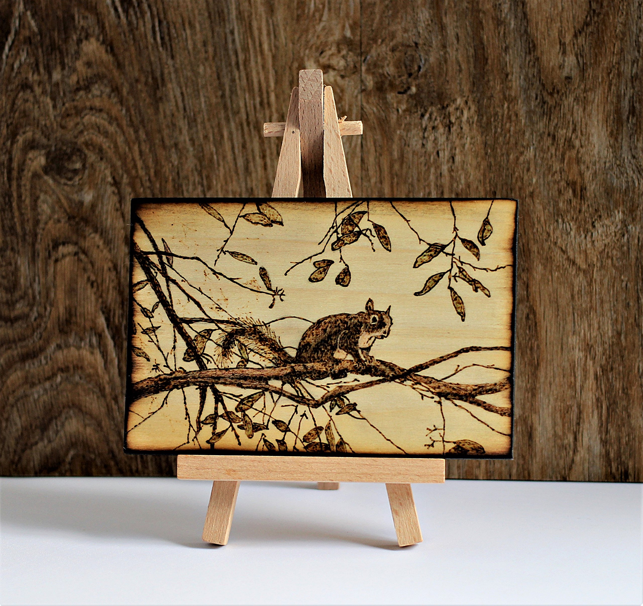 Wood Burned Gray Squirrel Pyrography Small Woodburned Nature Wildlife Picture Desktop Art