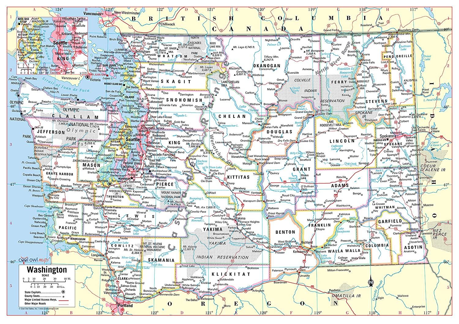 graphic relating to Printable Map of Washington State identify Amazing Owl Maps Washington Place Wall Map Poster Rolled (Laminated 34\