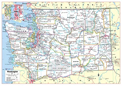 Cool Owl Maps Washington State Wall Map Poster Rolled (Laminated 34\