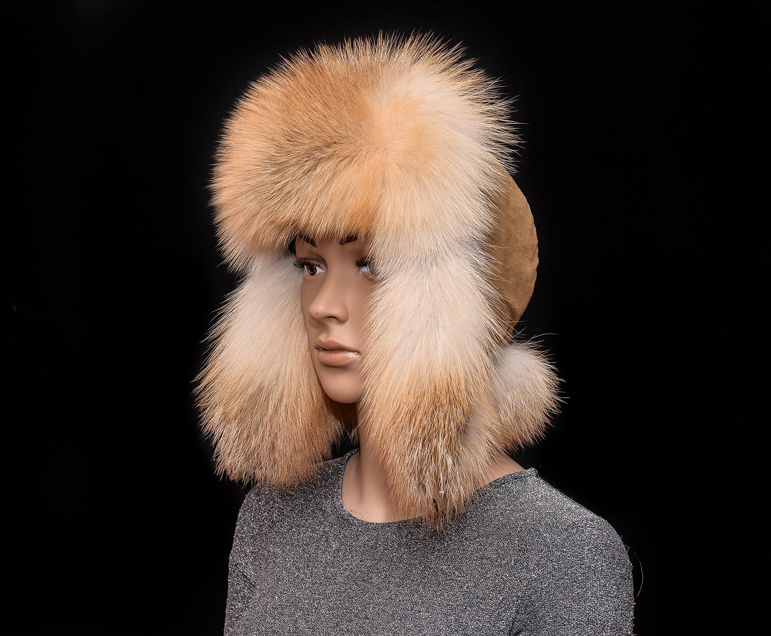 Saga Furs Golden Island Fox Fur Nubuck Leather Men's Handmade Bomber Aviator Hat