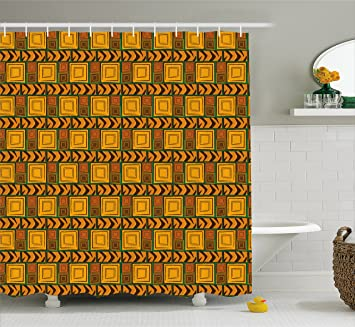 Ambesonne Zambia Shower Curtain By Kenya Ethnic Motif With Geometrical Aztec Native American Effects Print