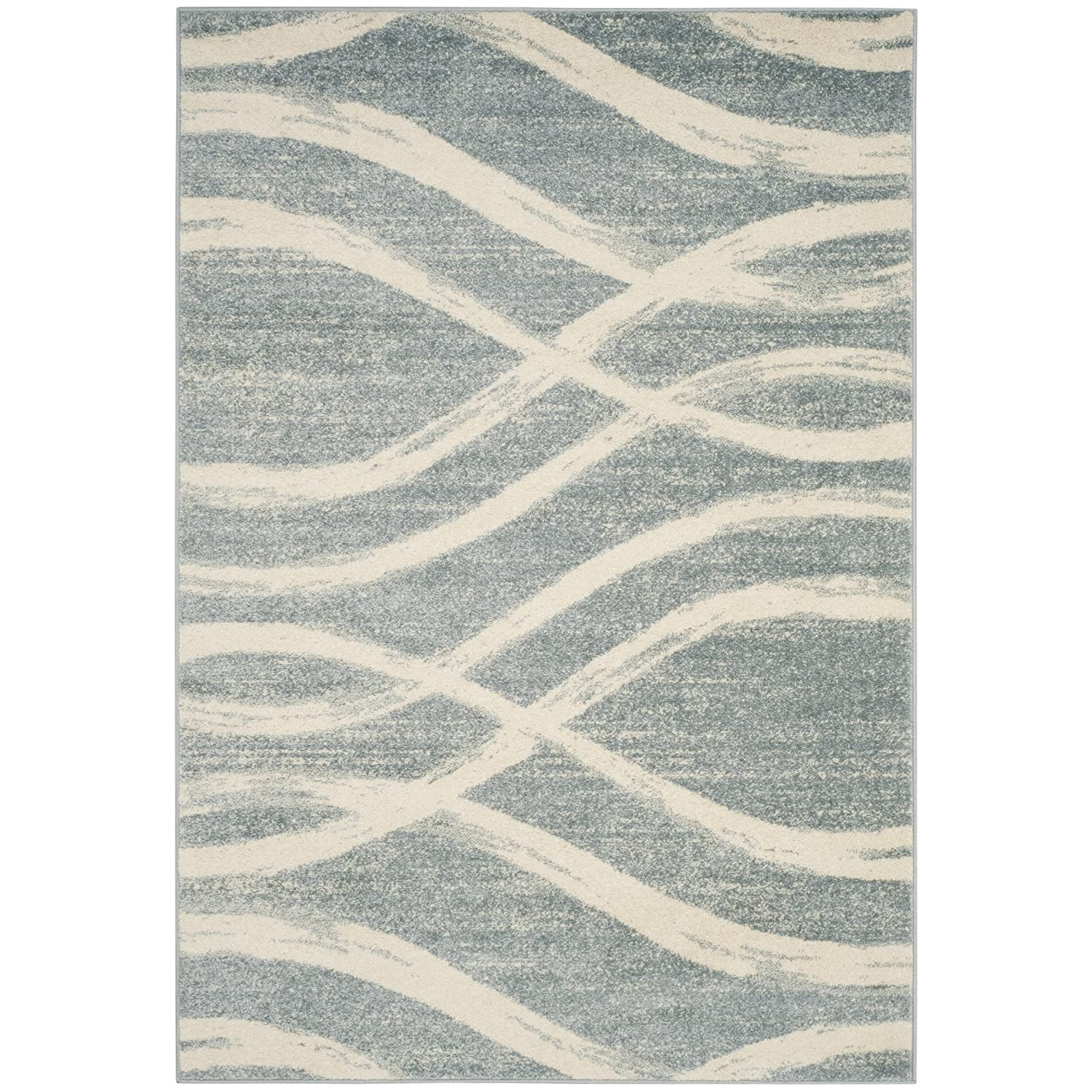 Safavieh Amsterdam Collection AMS106C Modern Abstract Ivory and Light Blue Runner (2'3