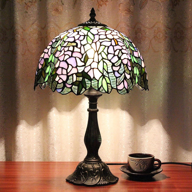 Gweat 12-Zoll Vintage Pastorale blühende Blumen Glasmalerei Tischlampe Schlafzimmer Lampe Nachttischlampe