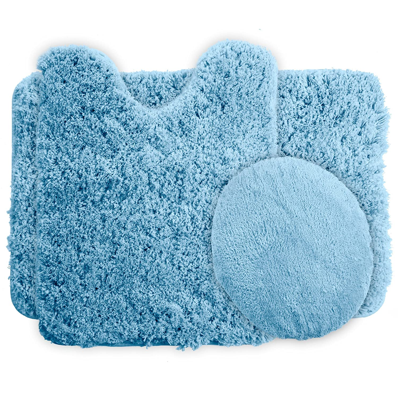 Lavish Home 3-Piece Super Plush Non-Slip Bath Mat Rug Set, Black 67-14-BL