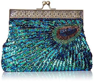 aa756529bc3 MG Collection Nisha Beaded Sequin Peacock Clutch, Blue, One Size ...