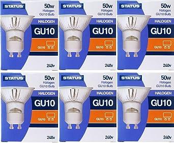50-W-Halogenlampen mit G-10-Fassung von Status, dimmbare Strahler, 240-V-Netzspannung, Abstrahlwinkel von 36 Grad, 6 Stück