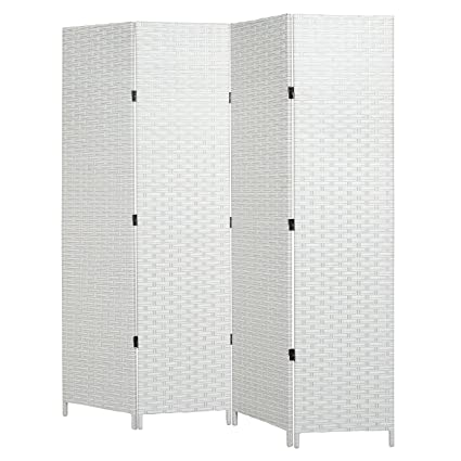 Amazoncom MyGift Folding Room Divider Standing 4 Panel Woven