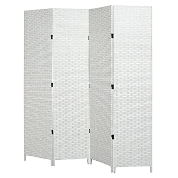 Amazoncom Mygift Folding Room Divider Standing 4 Panel Woven