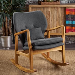 Christopher Knight Home 302236 Jenny Mid Century Modern Fabric Rocking Chair, Dark Slate, Light Walnut