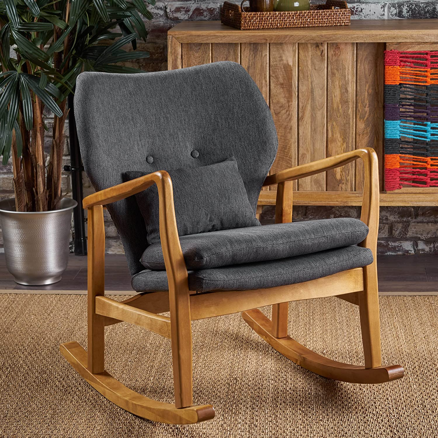Marvelous Christopher Knight Home Jenny Mid Century Modern Fabric Rocking Chair Dark Slate Light Walnut Creativecarmelina Interior Chair Design Creativecarmelinacom