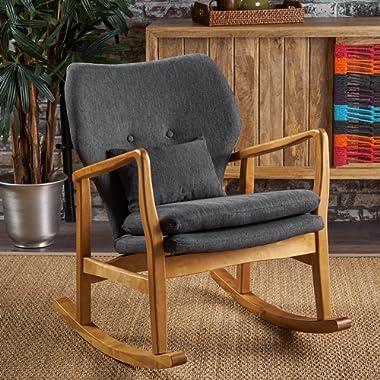 Jenny Mid Century Modern Dark Slate Fabric Rocking Chair
