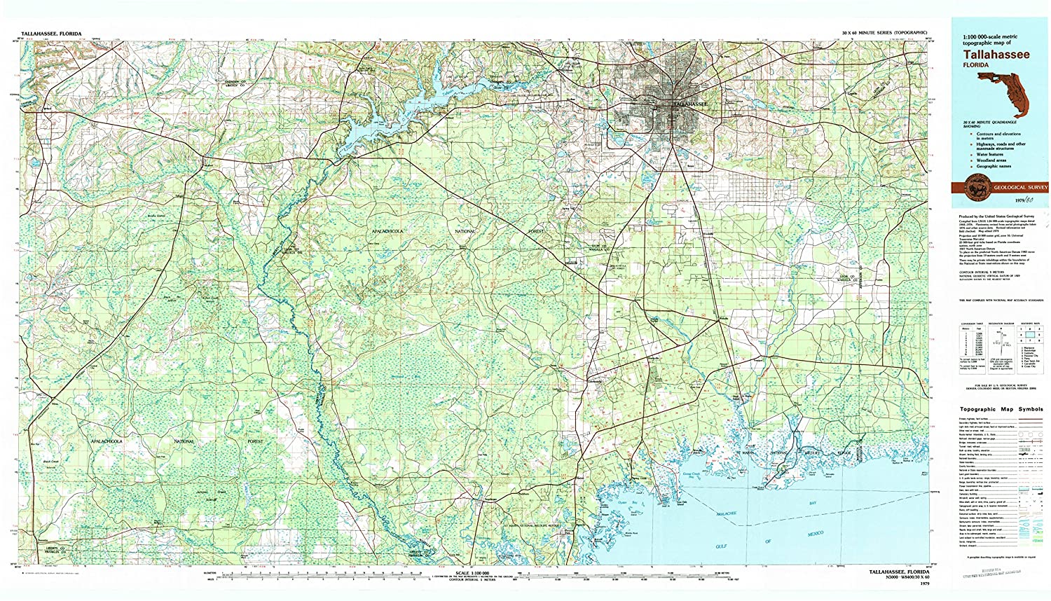 Tallahassee FL topo map, 1:100000 Scale, 30 X 60 Minute ...