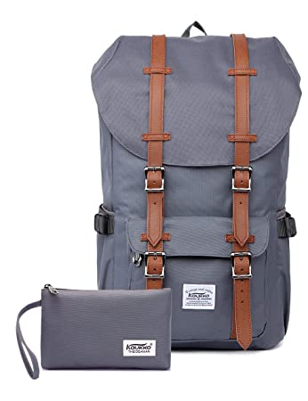 Lightweight Outdoor Backpack Traveling & Hiking &Camping Laptop Bags Durable Nylon Leather Daypack Portable Casual Rucksack Gray[2PCS] by KAUKKO B0787TX81M