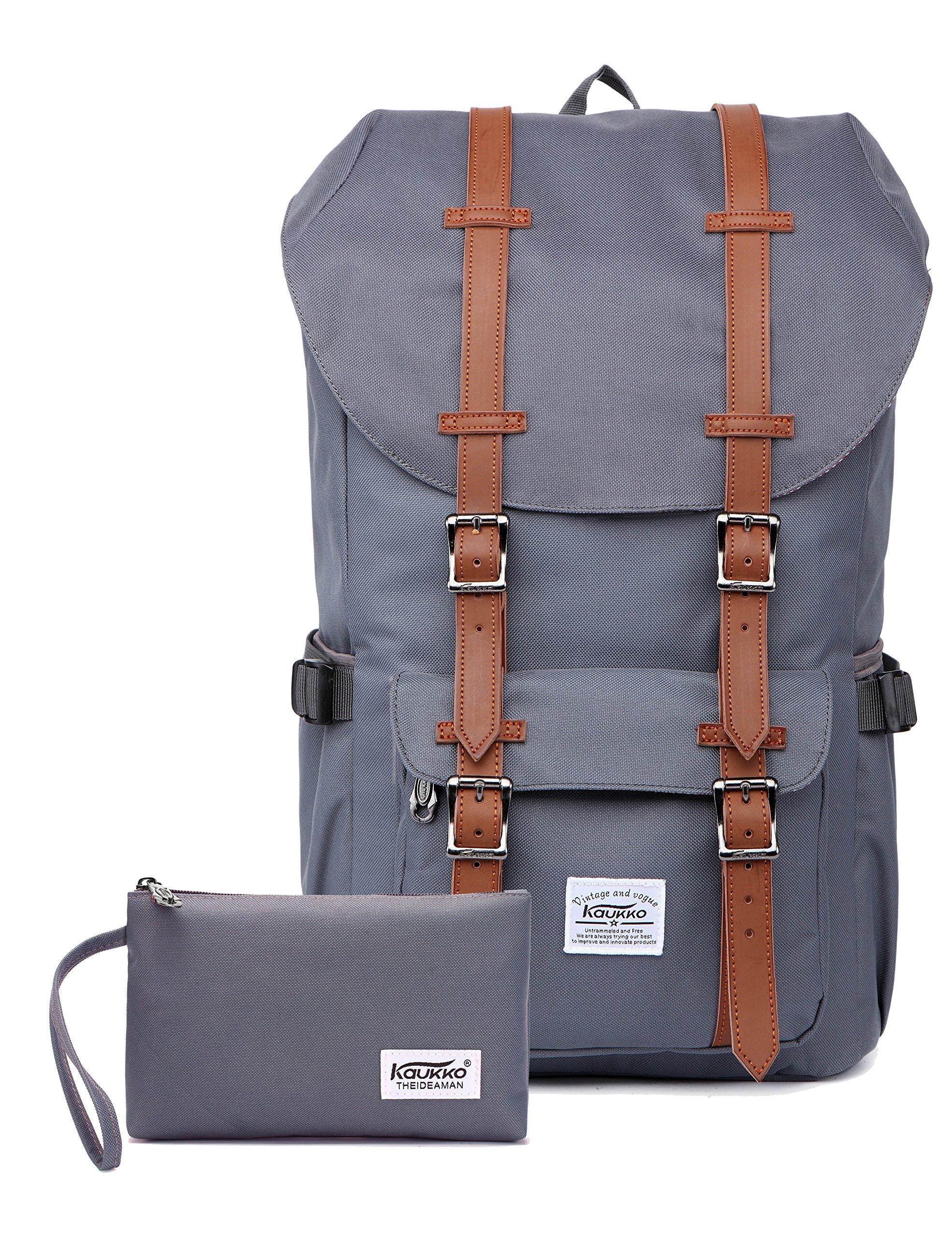 KAUKKO Laptop Outdoor Backpack, Travel Hiking& Camping Rucksack Pack, Casual Large College School Daypack, Shoulder Book Bags Back Fits 15'' Laptop & Tablets (NGrey 2pcs)