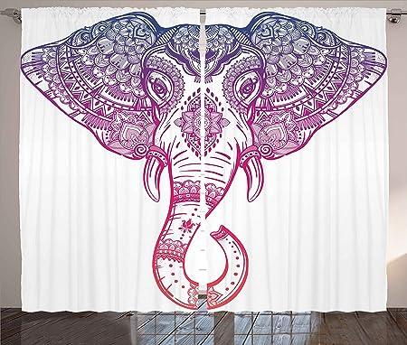 Elephant Curtains by Ambesonne, Boho Style Elephant with Tribal ...