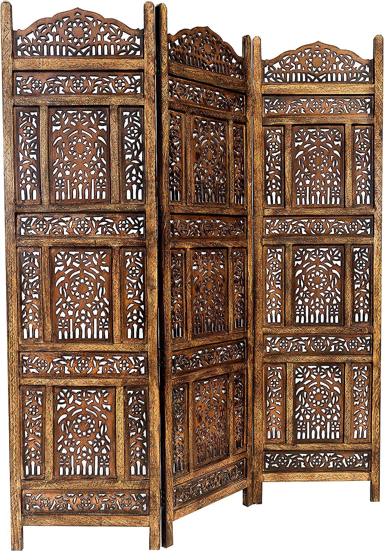 Marrakech Accessoires–Biombo separador de madera Abhi Nava 150x 180cm de altura en marrón   separador como raumtrenner o indio decoración en habitaciones o visión protección para el jardín, terraz