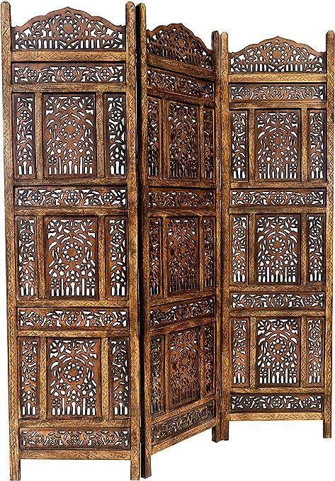 Marrakech Accessoires – Biombo separador de madera Abhi Nava 150 x 180 cm de altura en marrón | separador como raumtrenner o indio decoración en habitaciones o visión protección para el jardín,