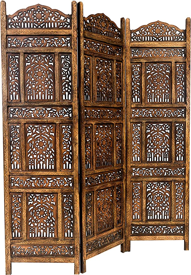 Marrakech Accessoires – Biombo separador de madera Abhi Nava 150 x 180 cm de altura en marrón