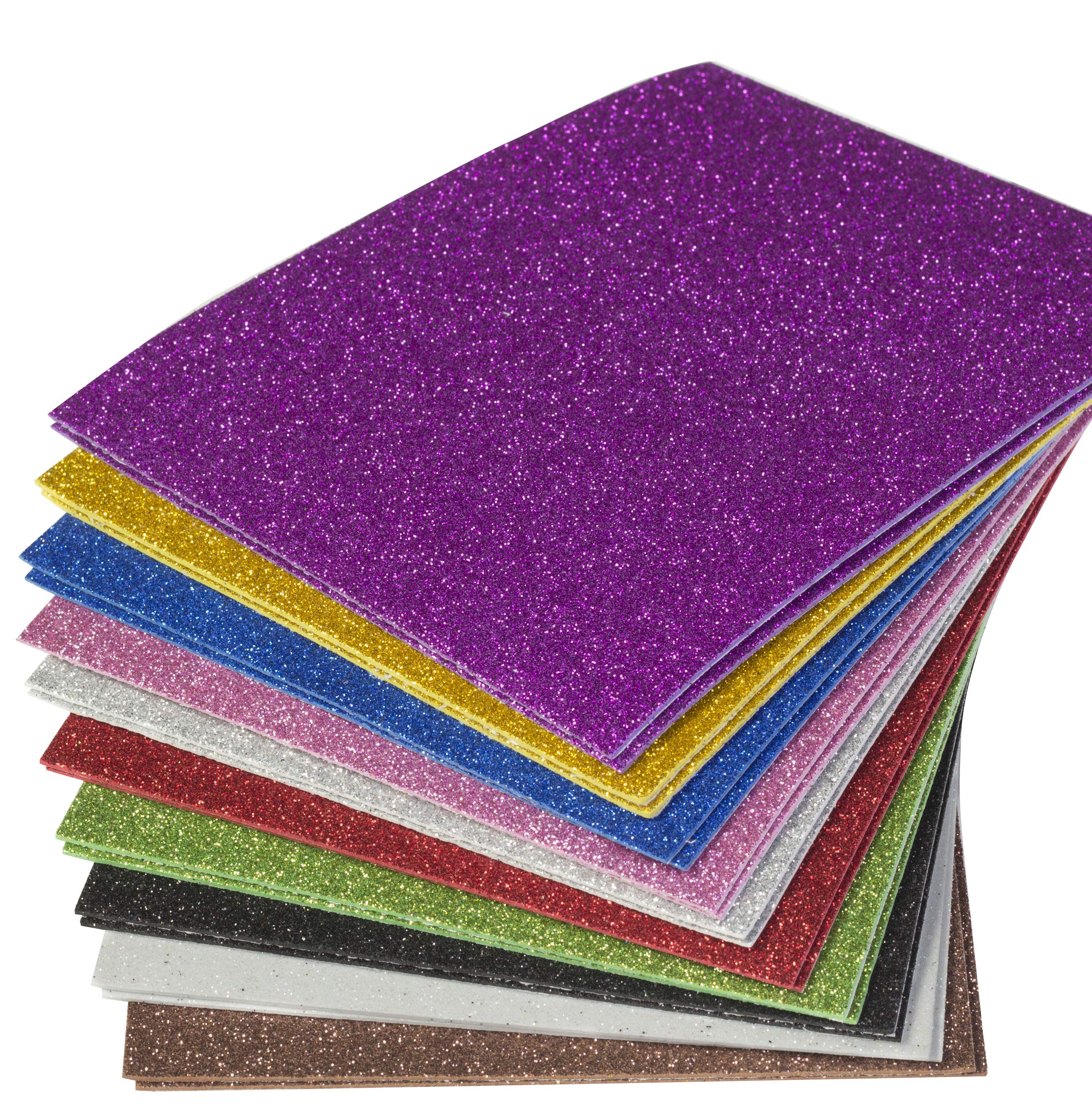 Amazon Com Eva Glitter Foam Handicraft Sheets 8 X 6 Inches 20 Pack