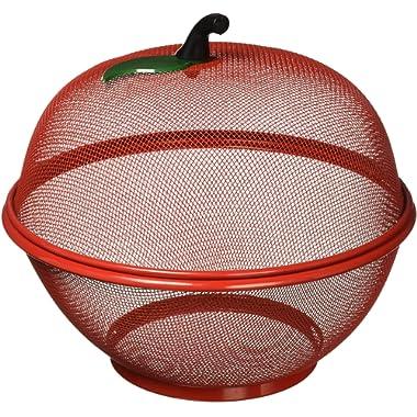 Apple-Shaped Fruit Basket, Mesh Fruit Holder, Red