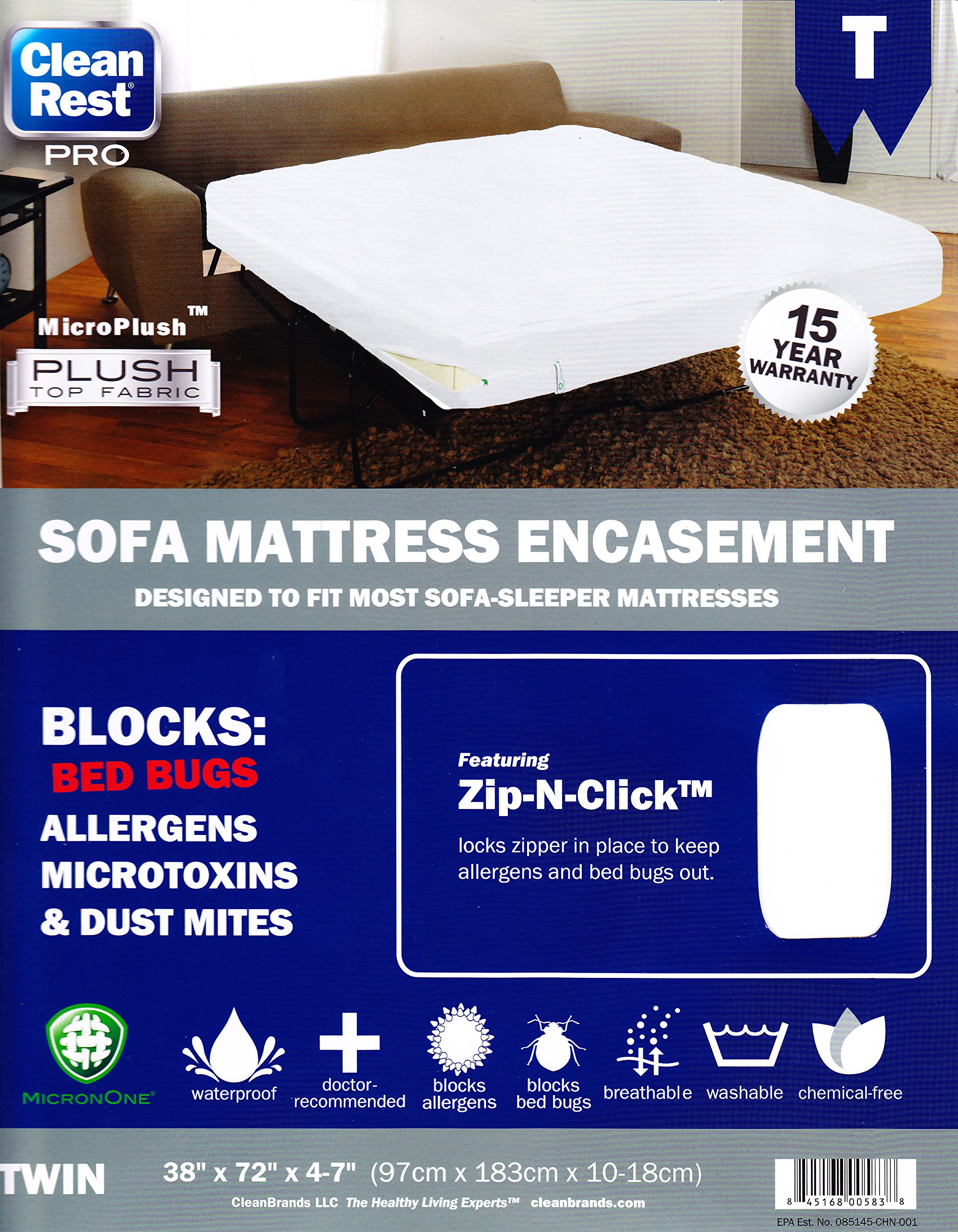 Clean Rest PRO SOFA Mattress Encasement Bed Bug, Allergen & Dust Mite Proof (Twin)