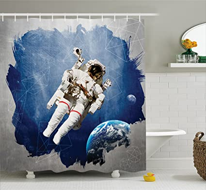 Amazon Ambesonne Outer Space Decor Shower Curtain Astronaut On