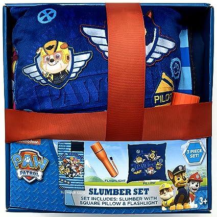 Niños Paw Patrol 3 piezas Set de regalo con saco de dormir, almohada y linterna