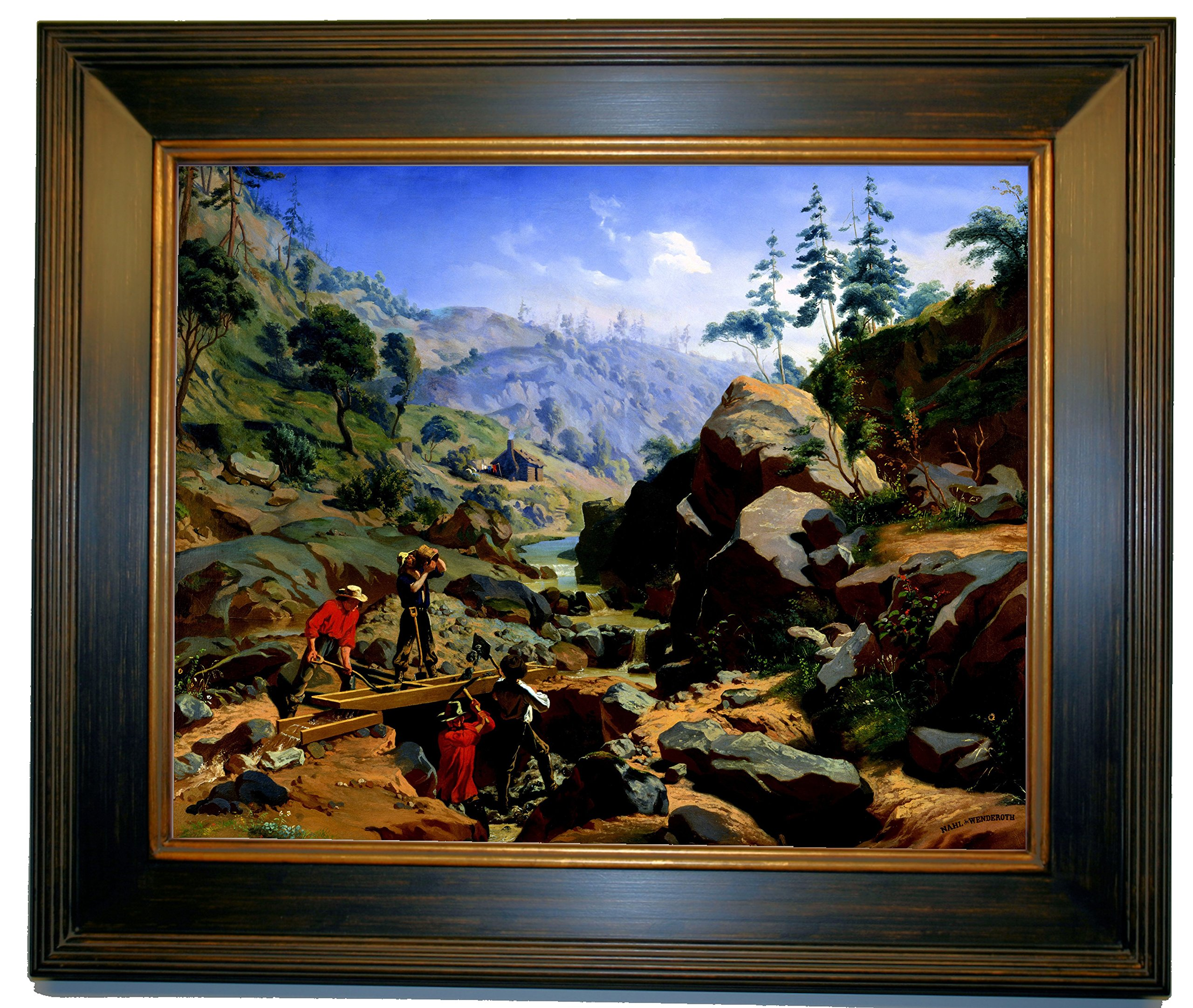 Historic Art Gallery Miners in The Sierras 1851 by Nahl. Charles Christian Framed Canvas Print - Brown with Gold Gallery - 16x20 by Historic Art Gallery