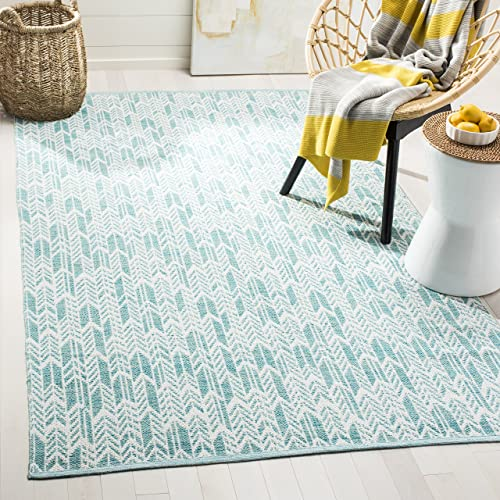 Safavieh Montauk Collection MTK609H Aqua and Ivory Area Rug 3' x 5'