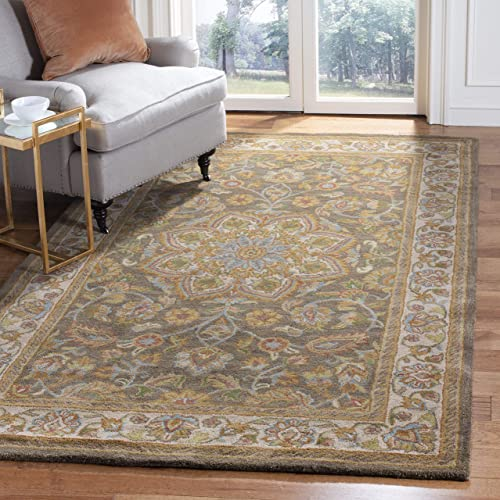 Safavieh Heritage Collection HG954A Handcrafted Traditional Oriental Green and Taupe Wool Area Rug 11' x 17'