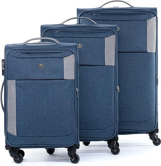 FERG/É/® Set 3 valises Voyage en Toile Extensible Saint-Tropez Ensemble de Bagages Douce Trois pc 4 Roues Trolley 4 roulettes 360 degr/és Gris