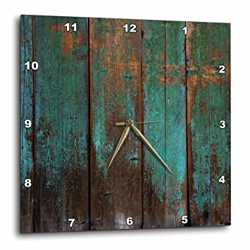 3D Rose Teal Distressed Country Wood Effect Wall Clock 15 x 15