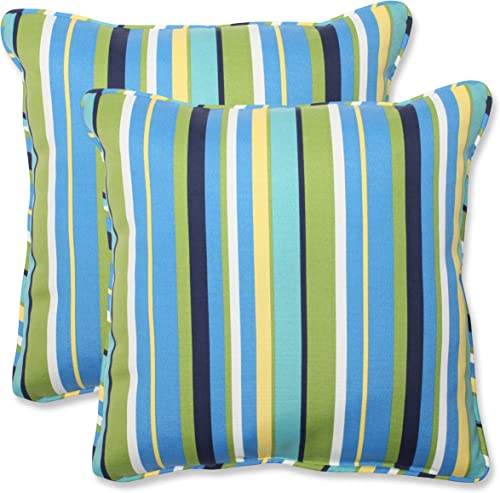 Pillow Perfect Outdoor Indoor Topanga Stripe Lagoon Throw Pillows, 18.5 x 18.5 , Blue, 2 Pack